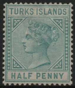 TURKS ISLANDS-1882 ½d Blue-Green Sg 53 MOUNTED MINT V40159