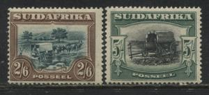 South Africa 1927 2/6d and 5/ singles mint o.g.