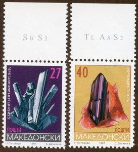 Macedonia Scott 106-107 MF-VFNHOG - 1997 Minerals Complete Set - SCV $6.00