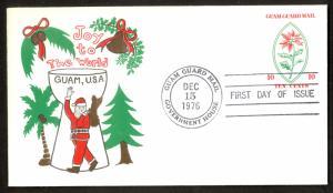 GUAM GUARD MAIL 1976 10c CHRISTMAS POSTAL STATIONERY ENVELOPE FDC SANTA