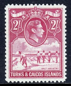 TURKS & CAICOS ISLANDS — SCOTT 87 — 1938 2/6- KGVI ISSUE  — MNH — VF — SCV $40