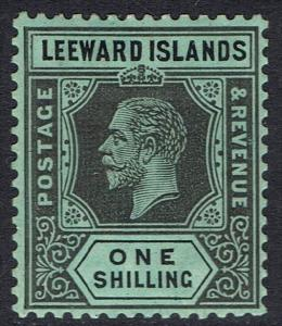 LEEWARD ISLANDS 1912 KGV 1/- ON WHITE BACK WMK MULTI CROWN CA