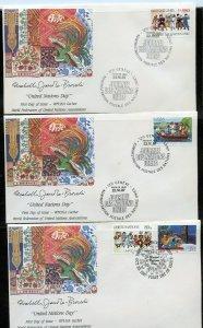 UN 1987 UN DAY WFUNA CACHET BY ELIZABETH von JANOTA-BROWSKI 9 FIRST DAY COVERS