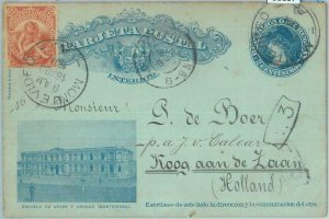 86107 - URUGUAY - POSTAL HISTORY - STATIONERY CARD to HOLLAND w/ added STAMPS