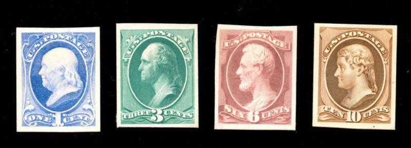 momen: US Stamps #206-209P4 Proof on Card Set XF