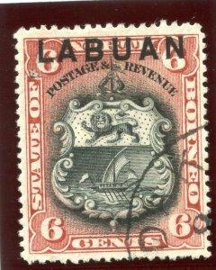 Labuan 1894 QV 6c brown-lake very fine used. SG 67. Sc 53.
