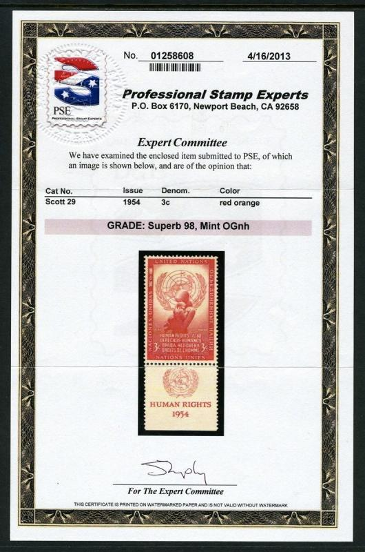 UN #29 Tab HIGH VALUE **MNH**- PSE CERTIFICATE (Grade 98 SUPERB)