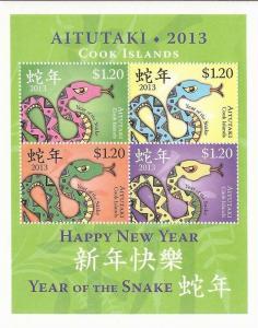 Aitutaki 2013 Year of the Snake 4 Stamp Sheet Scott #599 1M-028