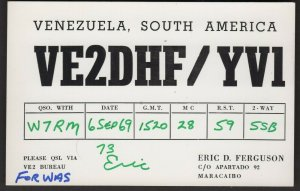 QSL CARD Eric D. Ferguson,VE2DHF/YV1,69,Venezuela,Sout h America(Q4502)