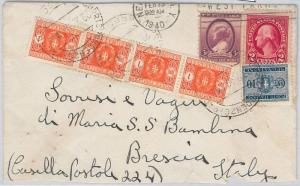 52472 -  UNITED STATES -  POSTAL HISTORY: COVER to ITALY 1940 - TAXED on ARRIVAL