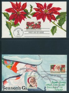 #2064, 2166 SEASON'S GREETINGS ON FIRST DAY COVER HANDPAINTED BY HAM BV1399