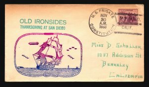 USS Constitution Voyage Cover / San Diego 11/30/33 - L1986