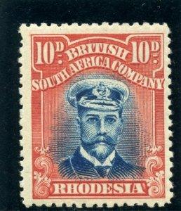 Rhodesia 1918 KGV Admiral 10d blue & red MLH. SG 270. Sc 129a.
