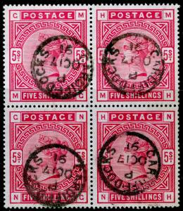 SG181, 5s crimson, FINE used, CDS. Cat £1500. BLOCK OF 4. MG MH NG NH