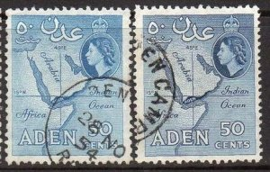 Aden 1953 & 195650c Map (both shades) used