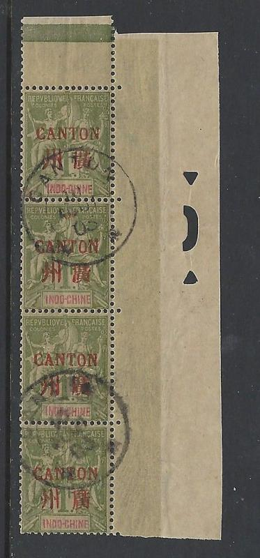 France Offices in China Canton 1901 1 Fr Margin Strip VFU (13)