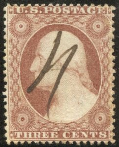 US 1857  Sc 26A 3c dull red Used F, pen cancel, cv $150
