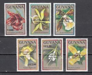 Guyana, Scott cat. 2361-2366. Orchid values o/printed Abraham Lincoln. ^