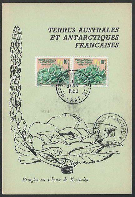 FAAT FRENCH ANTARCTIC 1960 postcard ISLE ST PAUL ET AMSTERDAM cds.........53542A