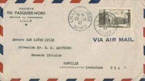 France 25F Stanislas Square at Nancy 1947 Lille-Bourse, Nord Airmail to Danvi...