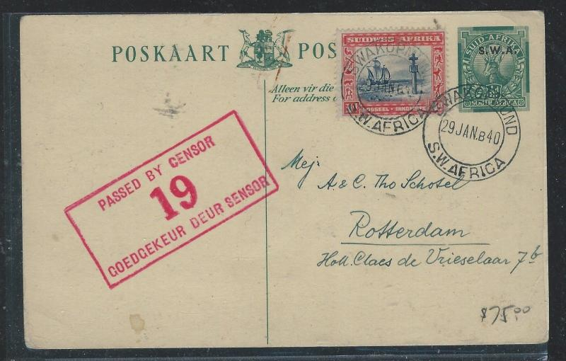SOUTH WEST AFRICA (P1910B) 1/2 DEER PSC UPRATED 1D CENSORED TO HOLLAND WITH MSG