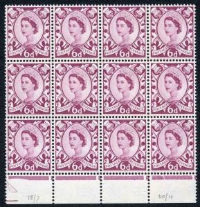 Scotland XS16 6d Cream Paper Block of 12 U/M