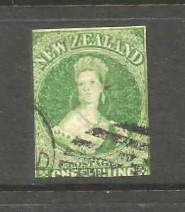 NEW ZEALAND FFQ 1/- GREEN  IMPERF NZ WMK  SG 100 CHALON