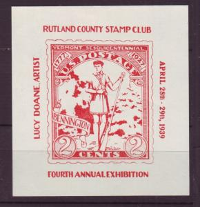 J18664 JLstamps 1939 mh 4th annual exhibition rutland county stamp club vermont