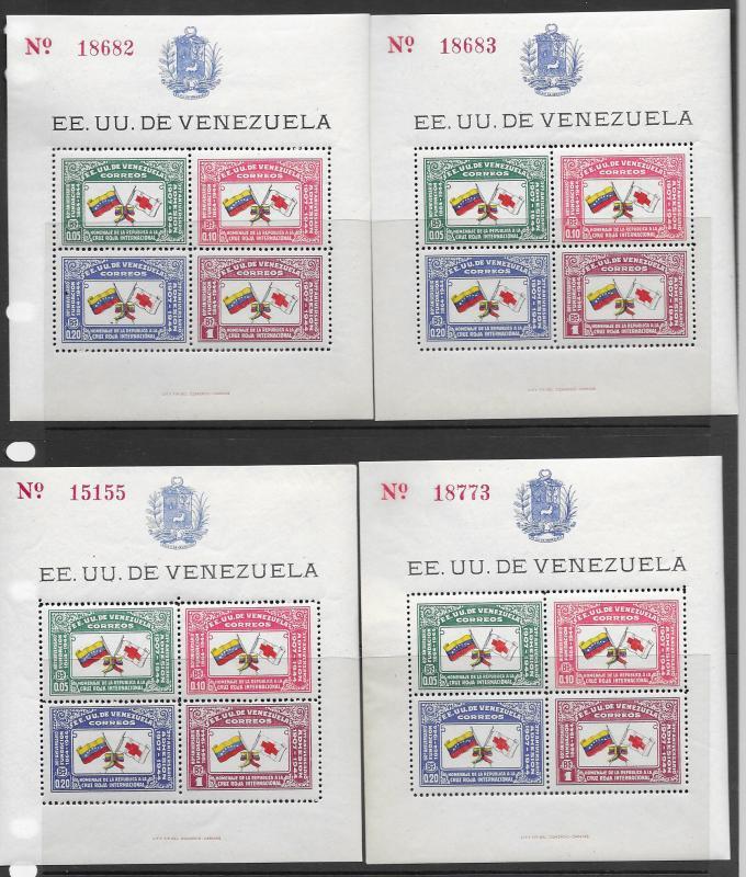 Venezuela 388 S/S MNH x 4 vf, see desc. 2019 CV $140.00