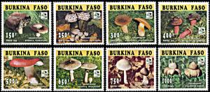 Burkina Faso 1035-1042, MNH, Mushroom and Scout Jamboree