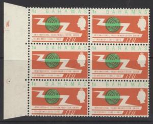 BAHAMAS SG262var 1965 ITU 1d GREEN DOT IN SOUTHERN HEMISPHERE ROW ?/1 MNH