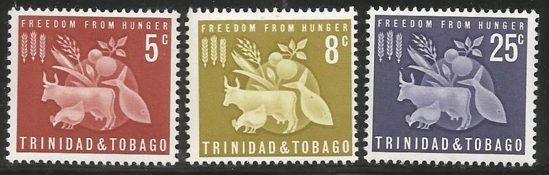 TRINIDAD & TOBAGO 110-112, MNH, C/SET OF 3 STAMPS, FREEDOM FROM HUNGER ISSUE,...