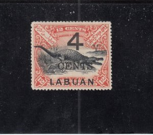 LABUAN (MK4398)  # 90  VF-MLH  4 on 12cts  SALTWATER CROCODILE / RED CAT VAL $60