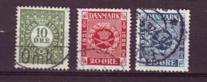 J11922 JL stamps 1926 denmark set 3 used #178-80