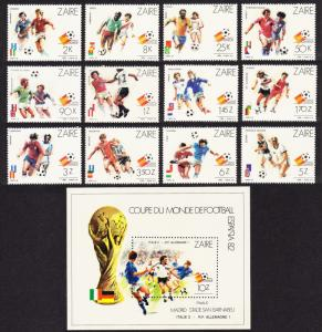 Zaire World Cup Football Championship Spain 12v+MS SG#1100-MS1112