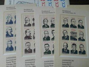 Ameripex '86 President Souvenir Sheets Sc# 2216-2219