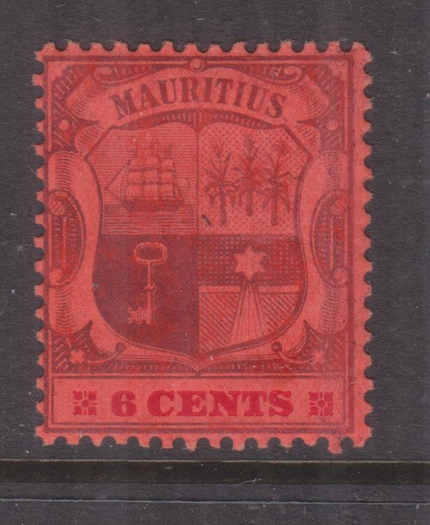 MAURITIUS, 1904 Arms., Mult Crown CA, Chalky paper, 6c. Purple & Carmine on Red
