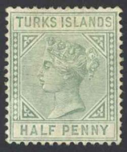 Turks Islands Sc# 48 MH 1885 Queen Victoria