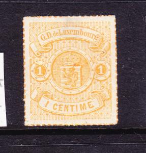 LUXEMBOURG  1865-74  1c  ORANGE ARMS  ROULETTE  MNG  Sc 18