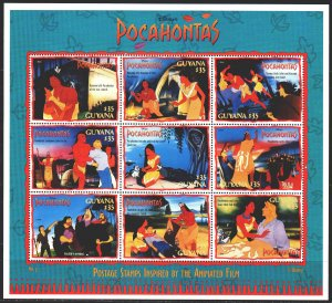 Guyana. 1995. Small sheet 5281-89. Pocahontas, Disney cartoons. MNH.