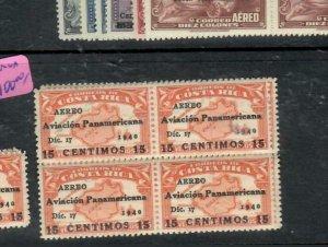 COSTA RICA (P0301B)  A/M 1941 SC C56 VAR OVPT ON 25C    BL OF 4   MNH