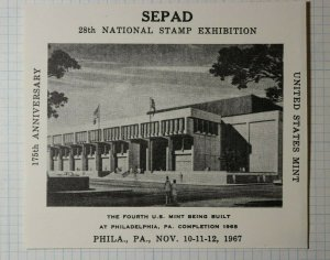 SEPAD 175th Anniversary United States Mint Philadelphia PA Philatelic Souvenir