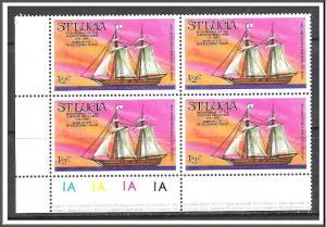 St Lucia #379 Ships Corner Block MNH
