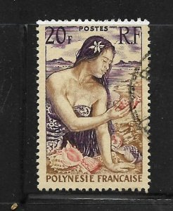 FRENCH POLYNESIA, 190, USED,GIRL WITH SHELLS