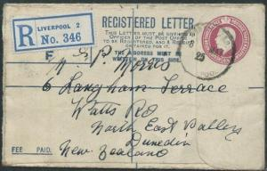 GB 1925 GV 4½d small size registered envelope used to New Zealand..........44692