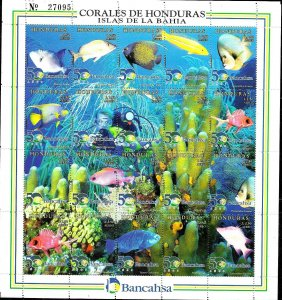 HONDURAS 1998 FAUNA FISHES CORALS, MS YV 933-52 MNH