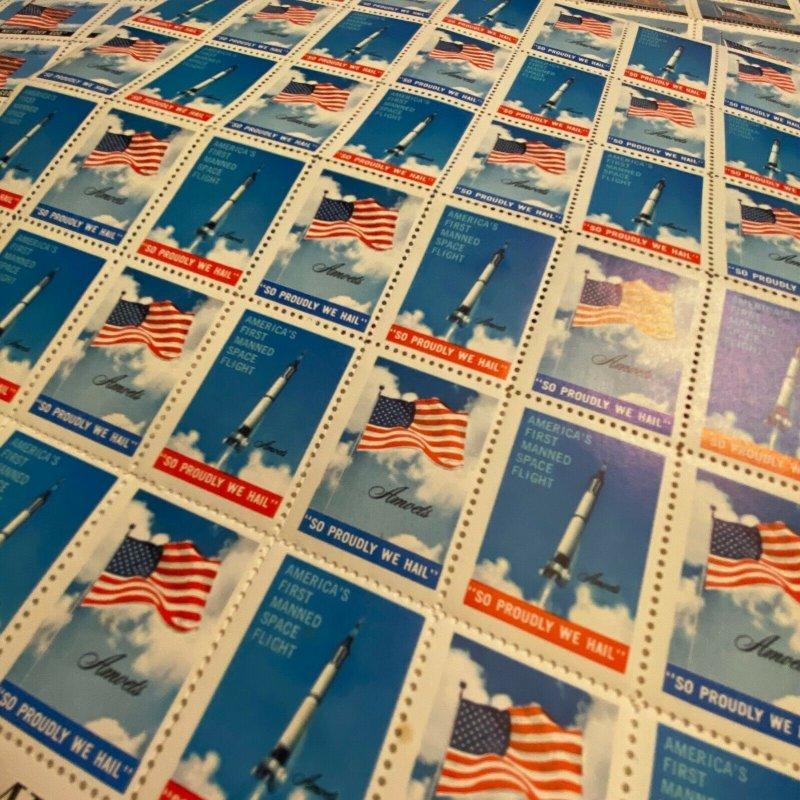 Vintage 50s AMVETS patriotic charity stamps seals cinderellas