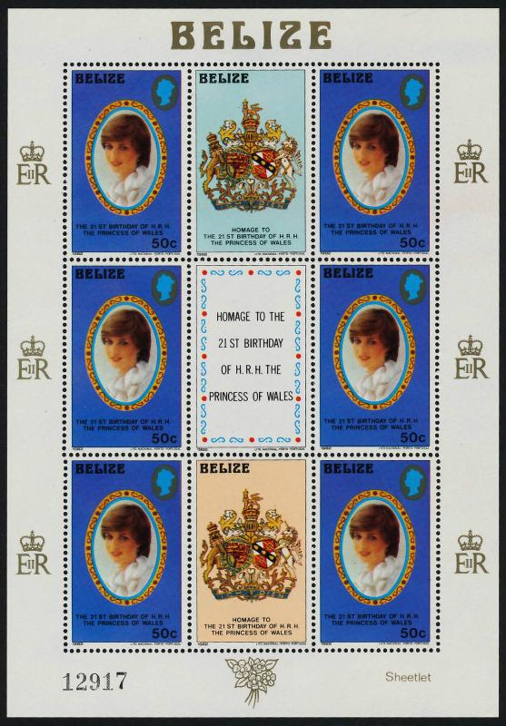 Belize 621-3 Sheets MNH Princess Diana 21st Birthday, Royalty