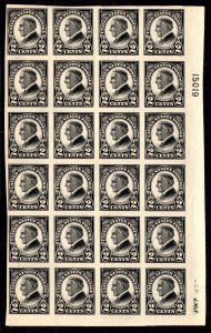 US Stamp #611 Plate Block of 24 2c Harding Imperf MINT NH SCV $300