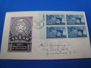 U.S. 1945 - SCOTT #938  PB4   FDC -  Texas